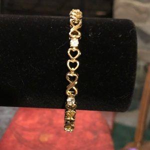 Vintage gold and Cubic zirconium heart bracelet
